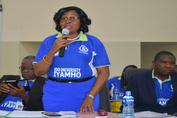 EUI Registrar Dr. Mrs. I. Ogboro, during the Maiden Orientation Programme